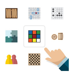 flat icon games set of people sea fight cube and vector image vector image