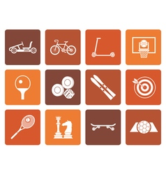 Flat sports equipment and objects icons vector image