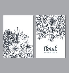 floral backgrounds with hand drawn spring flowers vector image vector image