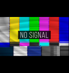 no signal tv descendant network rainbow bars vector image vector image