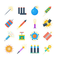 pyrotechnics set of icons in a flat style vector image