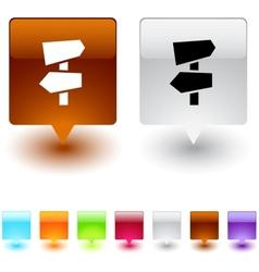 road arrows square button vector image vector image