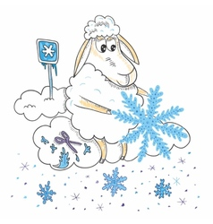 Sheep with snowflakes vector image