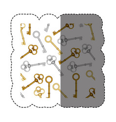 Sticker pattern with vintage keys of gold and vector