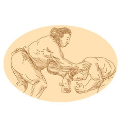sumo wrestlers wrestling vector image vector image