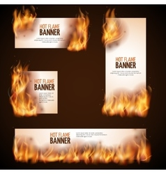 Burning campfire with hot flame banners vector image vector image