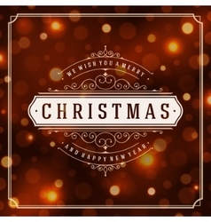 Christmas greeting card lights background vector image vector image