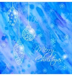 Christmas hand-drawn card with balls vector image