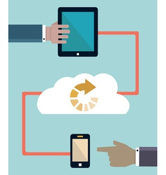Download information Connection of mobile devices vector image