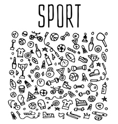 Hand drawn Sport and fitness elements seamless vector image vector image