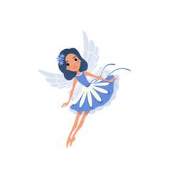little pixie in blue fancy dress cartoon fairy vector image vector image