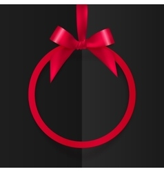 Red round frame with silky bow and ribbon at black vector image vector image