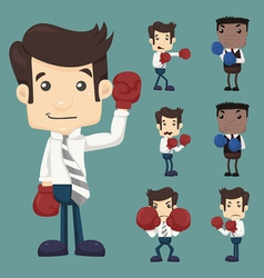 Set of businessman fight with boxing gloves charac vector image vector image