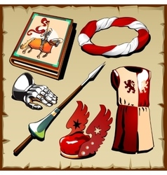 Set the true knight on a parchment background vector image vector image