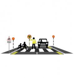 zebra crossing school patrol vector image