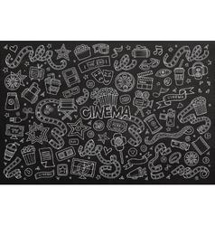 Cinema movie film doodles hand drawn chalkboard vector image vector image