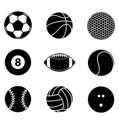 Collection of sport ball icon black and white vector image vector image