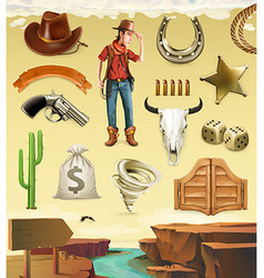 Cowboy cartoon character and objects Western vector image