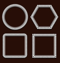 set of round frames on brown vector image