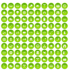 100 bbq icons set green vector