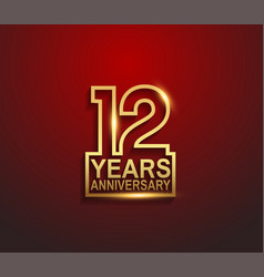 12 years golden anniversary line style isolated vector