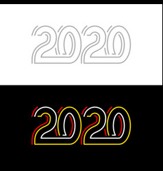 2020 new year red yellow and white lines neon vector image