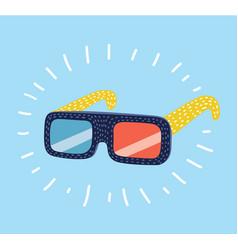 3d glasses on white background vector image