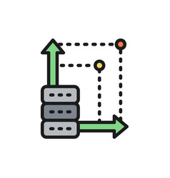 Advanced server more space in cloud storage flat vector