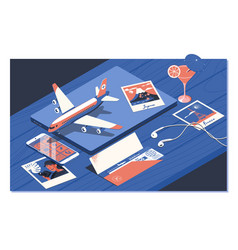air ticket flight booking concept isometric vector image