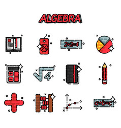 algebra flat icons set vector image