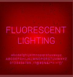 alphabet neon fluorescent lighting font vector image
