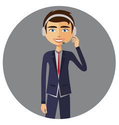 An operator man with headset customer service vector