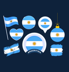 argentina flag collection big set national vector image