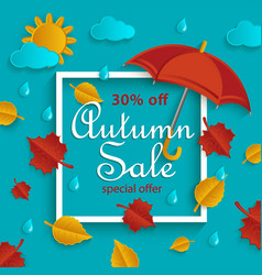 Autumn sale banner with frame and fall objects vector