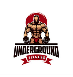 Awesome fitness male logo design vector