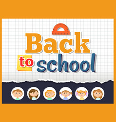 back to school angle ruler and notebook sheet vector image