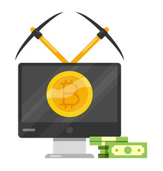 bitcoin mining icon cartoon style vector image