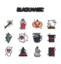 Black magic cartoon concept icons vector