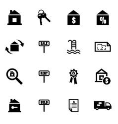 Black real estate icon set vector