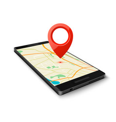 black smartphone with map gps navigation vector image