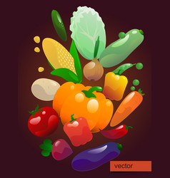 bright poster with vegetables vector image