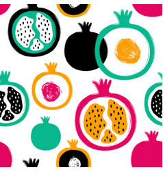 Brush grunge pomegranate seamless pattern vector