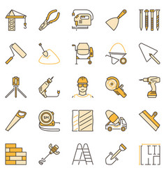 building colored concept icons set construction vector image