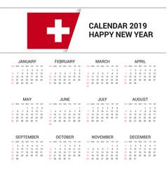 Calendar 2019 switzerland flag background english vector