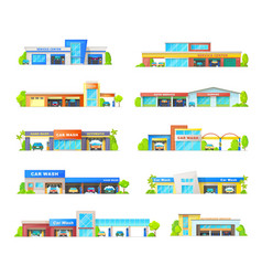 car wash and garage station service buildings vector image
