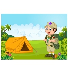 Cartoon little boy scout with tent vector