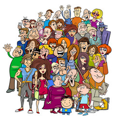 Cartoon people group in the crowd vector