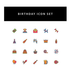 celebration birthday icon set with filled outline vector image