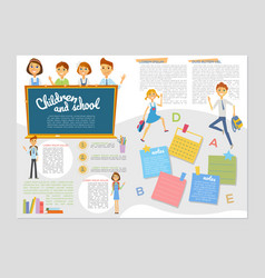children and school - colorful brochure vector image