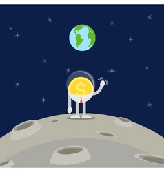Coin business man waving hand on moon vector
